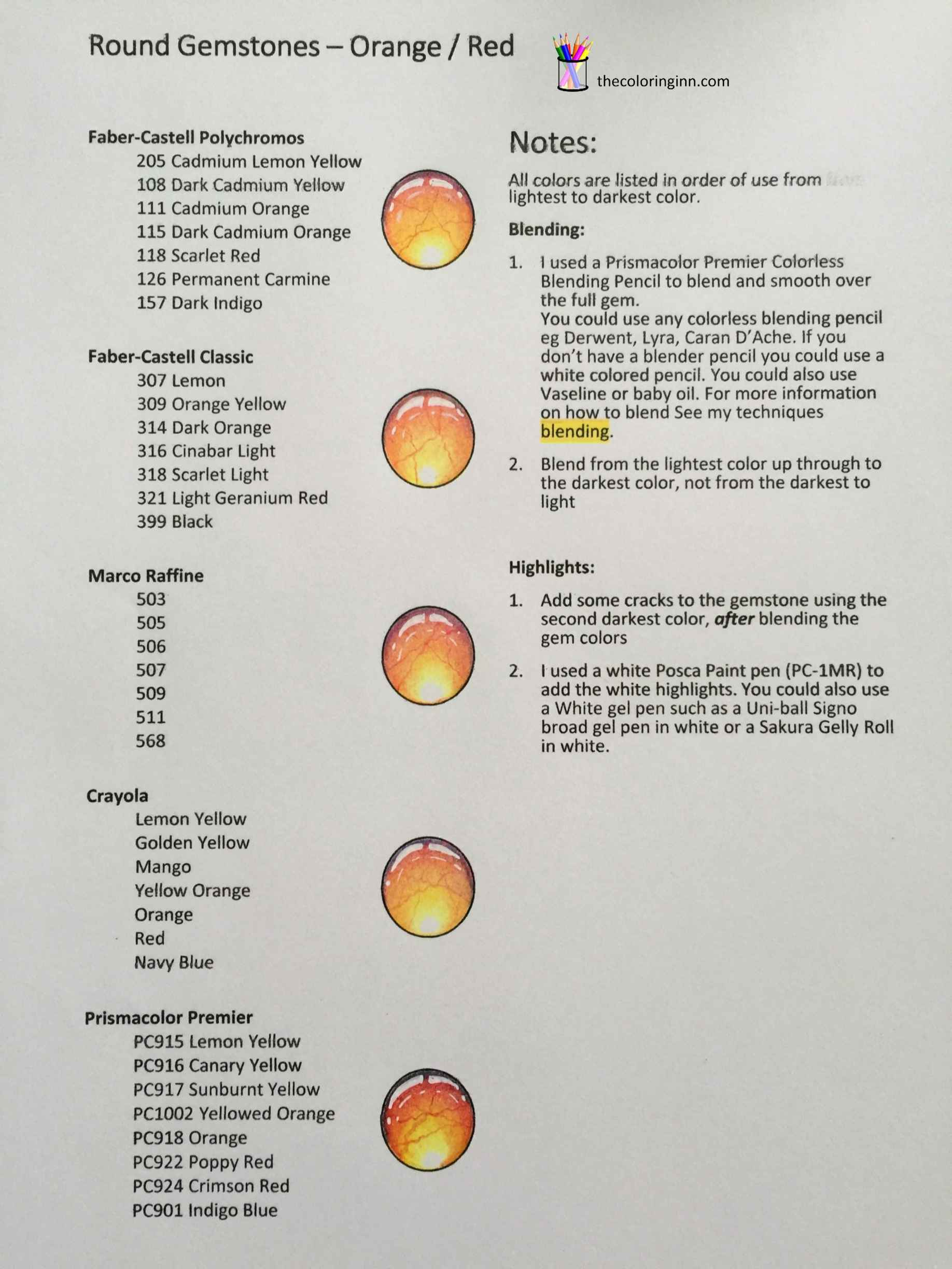 Colored Gemstone Combinations The Coloring Inn