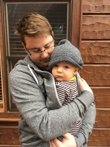 Daddy keeping Shep warm