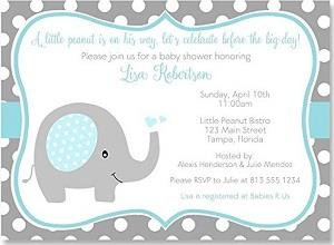 Elephant Baby Shower Invitations Sprinkle