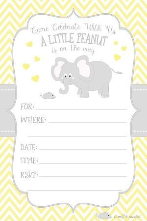 Little Peanut Elephant Baby Shower Invitations