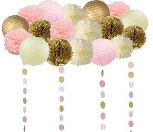 Pink and Gold Tissue Paper Flowers