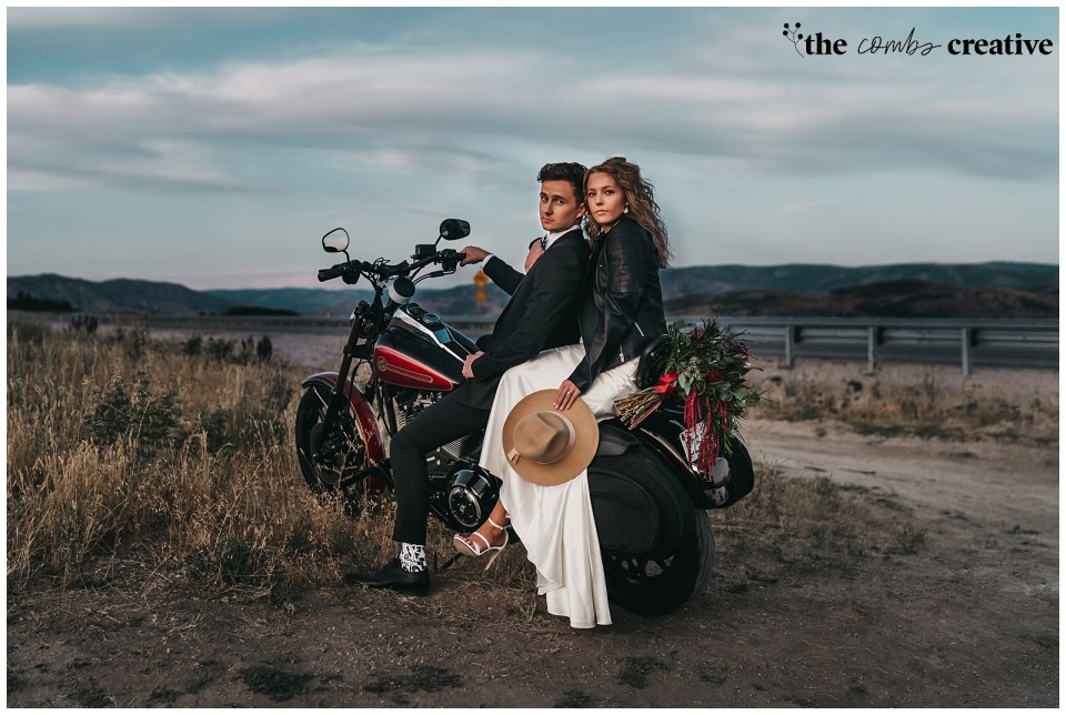 Bride and Groom on a Harley Davidson