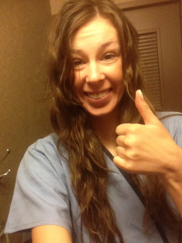 Me in medical gown with thumbs up ready for MRE