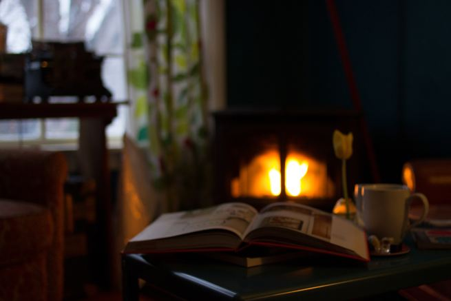 book, flower, and mug in front of fireplace