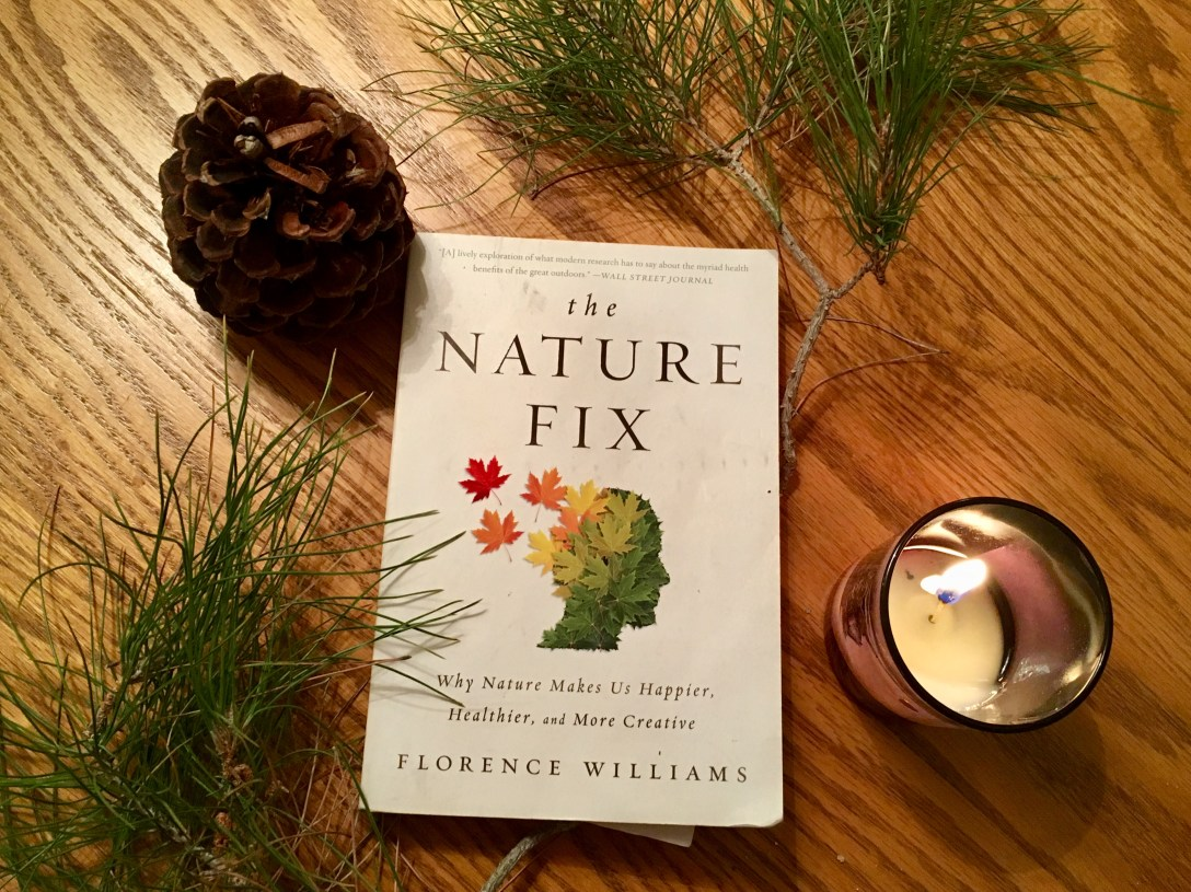 The Nature Fix paperback sitting on wood table next to pine needles, a pine cone, and a candle