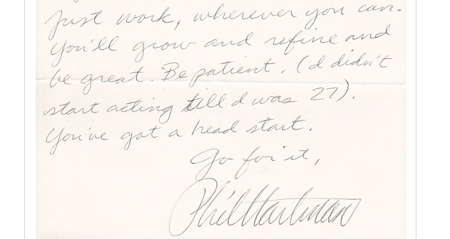 Phil Hartman's handwritten letter offers advice to a young comedian