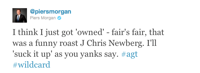 J. Chris Newberg owns Piers Morgan in surprise live televised roast on America's Got Talent 2011