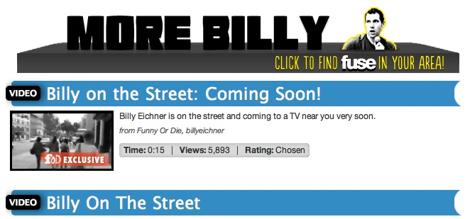 "Millions to miss out on Funny or Die's ""Billy on the Street"" due to Time Warner Cable spat with MSG"