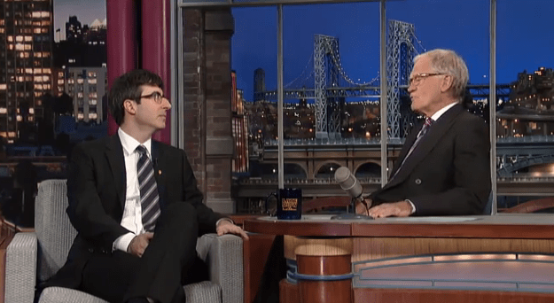 David Letterman offers John Oliver advice on late-night TV show hosting, interviewing