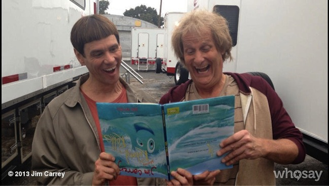 "Jim Carrey promotes his new children's book with first photo of ""Dumb and Dumber To"" with Jeff Daniels"