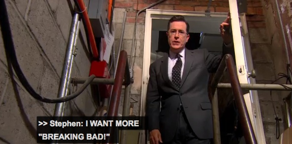 "Stephen Colbert locks Vince Gilligan in chains in a basement to write more ""Breaking Bad"""