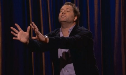 On Conan, Jay Larson tries to help a blind man