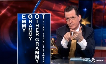 "Stephen Colbert accepts Grammy Award for Best Spoken Word Album on ""The Colbert Report,"" closes in on ""other"" EGOT"