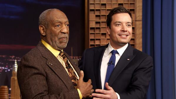 Jimmy Fallon piggybacks on Bill Cosby, literally and figuratively, with an impersonation of him