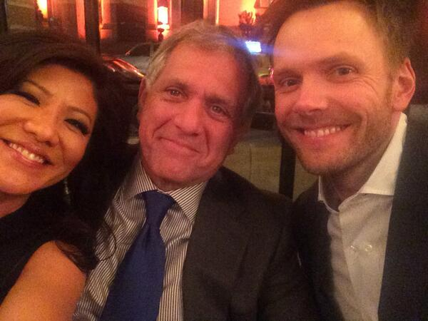 Joel McHale poses with Les Moonves on the eve of CBS Upfronts: Next stop, Late Late Show?