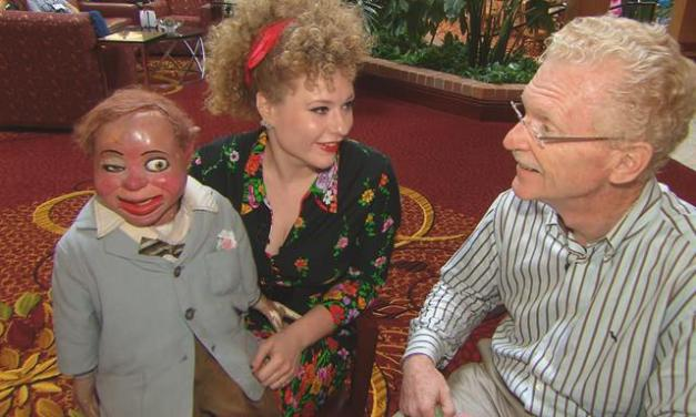 Carla Rhodes and her ventriloquist dummy, Cecil Sinclair, on CBS Sunday Morning