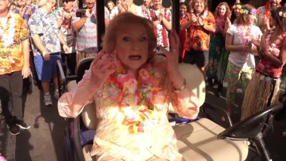 "Betty White's 93rd birthday ""Hot In Cleveland"" flash mob hula dance"