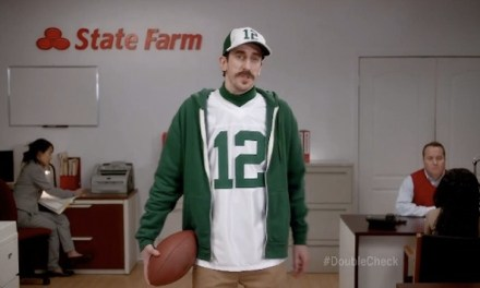 Tom Wrigglesworth subs in for Aaron Rodgers in State Farm commercial