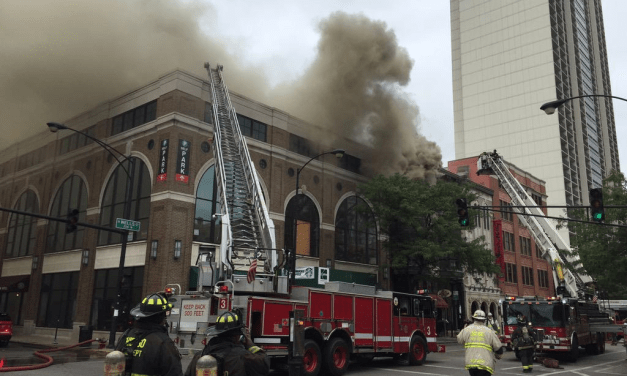 UP in smoke: Rooftop fire at Piper's Alley complex in Chicago home to The Second City