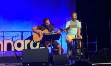 Eddie Vedder and Judd Apatow sing a duet to Garry Shandling using Shandling's own words, at Bonnaroo