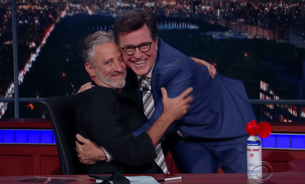 """""""I see you, and I see your bullshit!"""" Jon Stewart returns to TV to tackle FOX News hypocrisy, live on The Late Show with Stephen Colbert"""