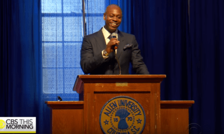 Dave Chappelle addresses the students of Allen University, where his great-grandfather served as president