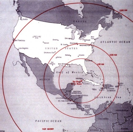 This Cuban Missile Crisis Map from the 1960's showed the range of Soviet missiles in Cuba. Today, all of North America is in range of Russian missiles based in Cuba.