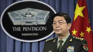 chinese military in front of the pentagon