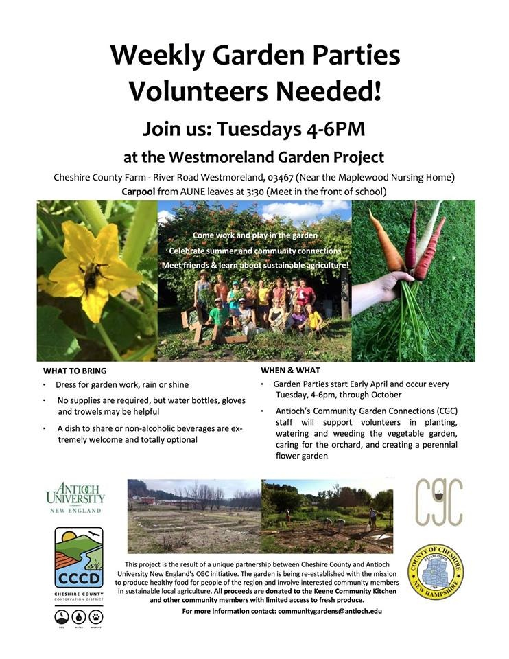 Join us every Tuesday at the Garden Party at the Westmoreland Garden Project. Help us glean, weed, plant for the Community Kitchen.