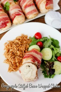 Gorgonzola Stuffed Bacon Wrapped Chicken ~Paillard style chicken layered with gorgonzola cheese, rolled, and wrapped in bacon ~ The Complete Savorist by Michelle De La Cerda