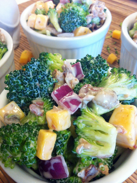 Broccoli Cheese Salad ~ Fresh and easy salad with broccoli, mushrooms, red onion, cheese, and bacon in a creamy cucumber dressing ~ The Complete Savorist