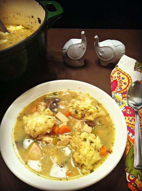 Bowl of Classic Herbed Chicken n' Dumplings ~ The Complete Savorist