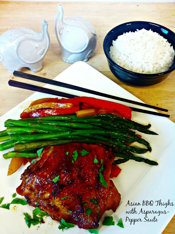 Asian BBQ Chicken Thighs with Asparagus Pepper Sauté ~ An Asian style BBQ sauce brushed on roasted chicken thighs served with a quick vegetable sauté of peppers and asparagus over rice ~ The Complete Savorist by Michelle De La Cerda