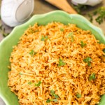 Served rice pilaf garnished with fresh thyme