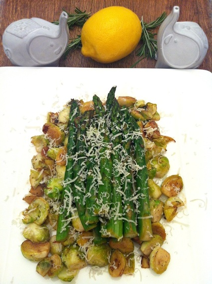 Lemon Rosemary Brussels Sprouts & Asparagus