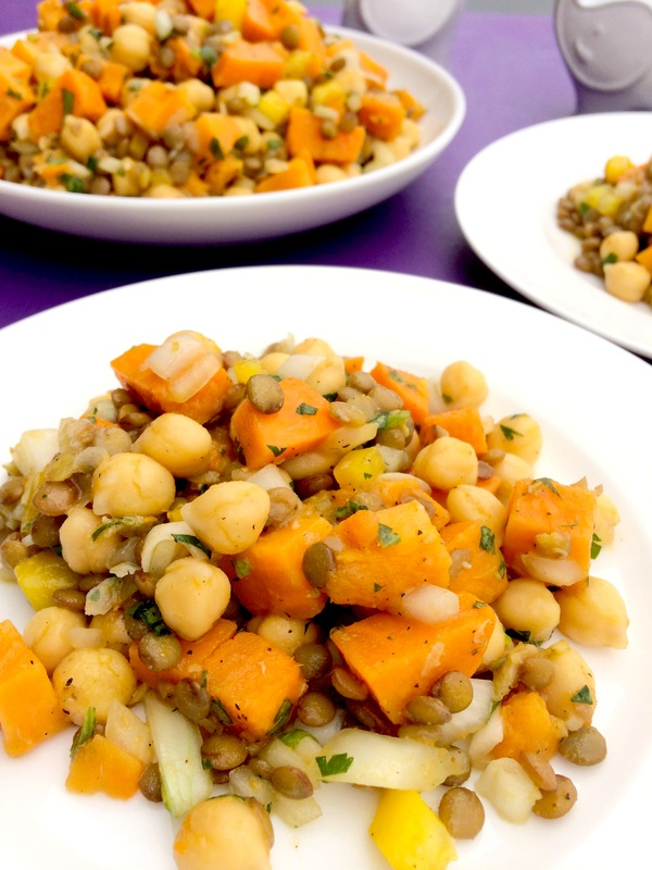 Chickpea Lentil Salad Vegan ~ Vegan summer salad of chickpeas, lentils, and sweet potatoes with roasted garlic, onions, peppers, warming spices, and fresh cilantro in a vinaigrette ~ The Complete Savorist