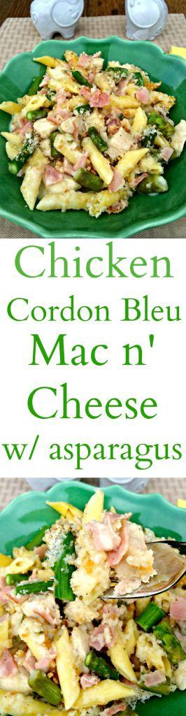 Chicken Cordon Bleu Mac n' Cheese with Asparagus ~ The Complete Savorist