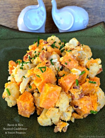 Bacon and Bleu Roasted Cauliflower and Sweet Potatoes ~ The Complete Savorist