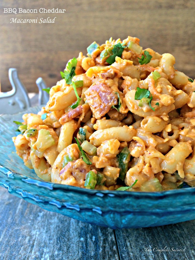 BBQ Bacon Cheddar Macaroni Salad ~ Your favorite picnic salad just got a huge makeover with bbq sauce, bacon, and cheddar cheese ~ The Complete Savorist