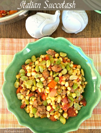 Italian Succotash ~ The classic Native American dish given an Italian make over with sausage, tomatoes and herbs, no more soggy lima beans here ~ The Complete Savorist