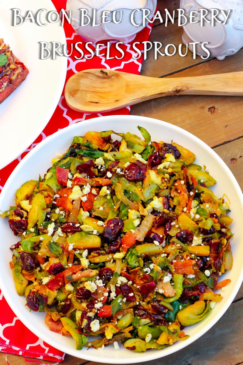 Bacon Bleu Cranberry Brussels Sprouts is a wonderful balance of sweet, salty, and tangy in every bite combating all the 'I hate them' people out there ~ The Complete Savorist by Michelle De La Cerda