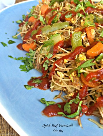 Beef Vermicelli Stir-Fry ~ A quick Asian inspired stir fry with brown rice noodles, ground beef, and vegetables for an easy weeknight dinner ~ The Complete Savorist