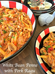 White Bean Penne with Pork Ragu ~ Tender slow cooked pork over penne pasta and white beans in a simple tomato based sauce.