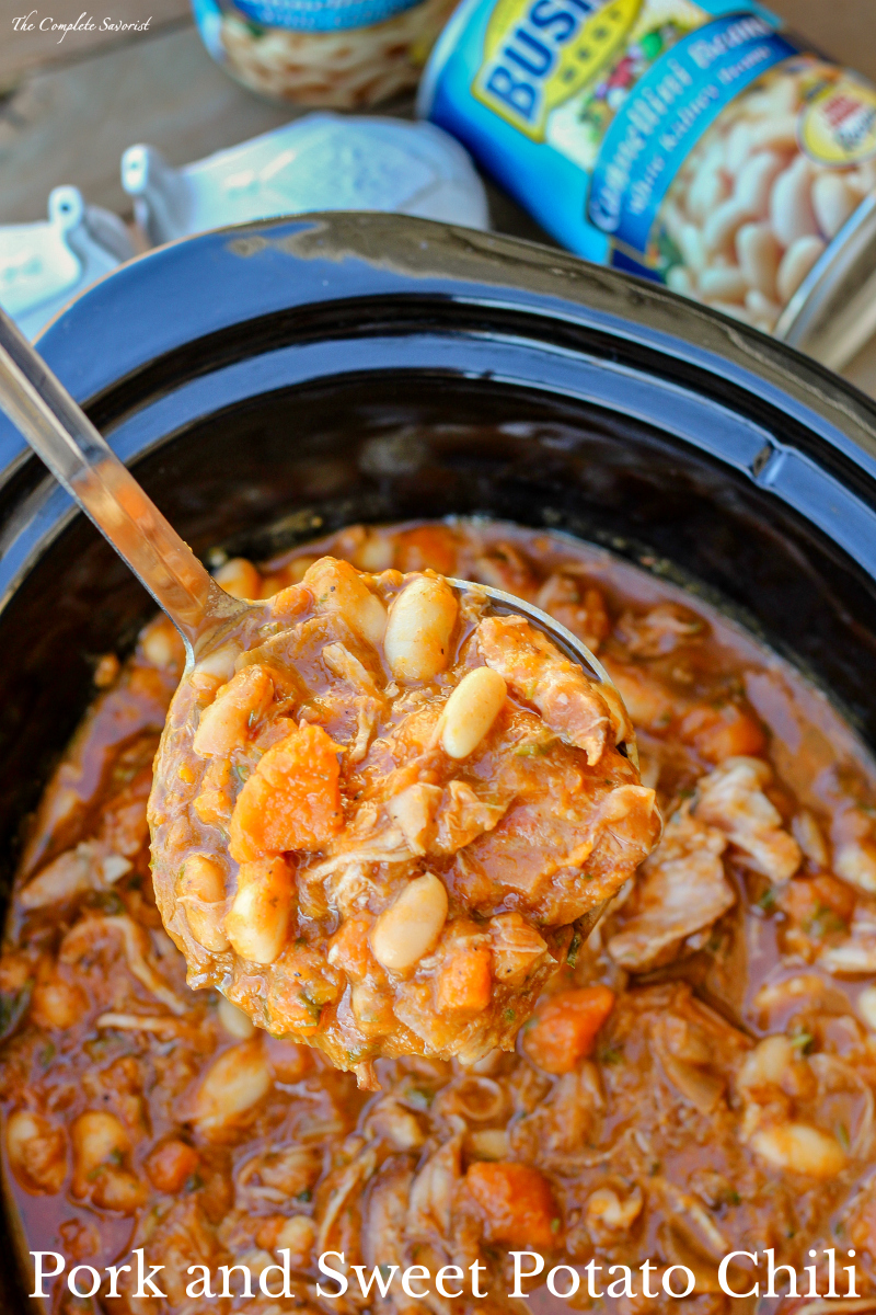 Pork and Sweet Potato Chili ~ This is the perfect recipe to mix up chili night with succulent pork, sweet potatoes, white beans, and warming Mexican spices. ~ The Complete Savorist by Michelle De La Cerda