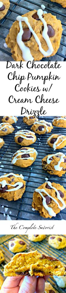 Dark Chocolate Chip Pumpkin Cookies with Cream Cheese Drizzle ~ The Complete Savorist