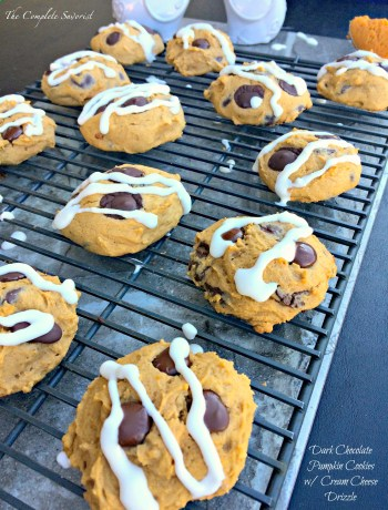 Dark Chocolate Chip Pumpkin Cookies with Cream Cheese Drizzle ~ Classic fall favorite, chocolate chip pumpkin cookies with a tangy sweet icing ~ The Complete Savorist
