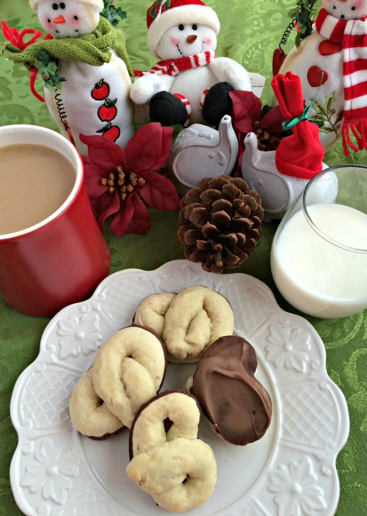 Kringla ~ A Norwegian holiday cookie dipped in chocolate, the perfect mate for your milk, cocoa, or coffee ~ The Complete Savorist