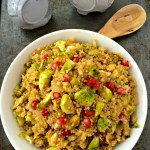 Sweet pomegranates and crunchy Brussels sprouts are tossed with savory quinoa in this savory side dish. ~ The Complete Savorist by Michelle De La Cerda