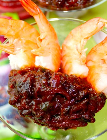 Dried Plum Chutney Shrimp Cocktail ~ The Complete Savorist #TheFeelGoodFruit #CG