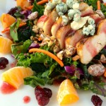 Hearty salad loaded with chicken, fruit, candied pecans, and bleu cheese in a tangy vinaigrette. ~ The Complete Savorist by Michelle De La Cerda